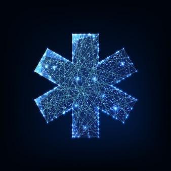 Futurista brillante bajo símbolo médico poligonal estrella de la vida aislada sobre fondo azul oscuro.