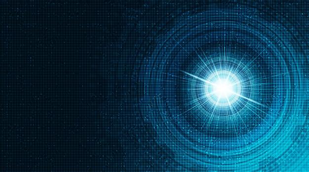 Futurista digital sobre fondo de tecnología de red de circuitos