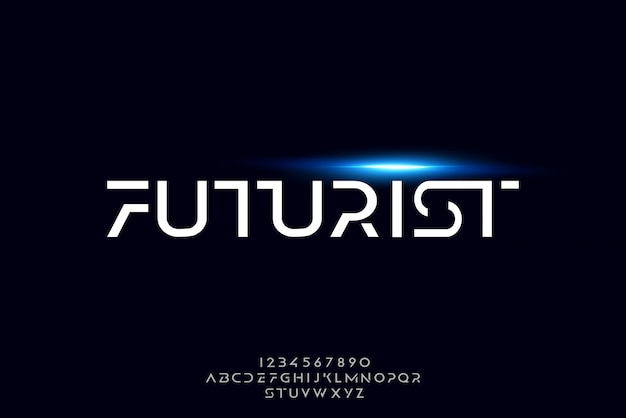 Futurista, una fuente abstracta alfabeto futurista con tema de tecnología. diseño moderno de tipografía minimalista