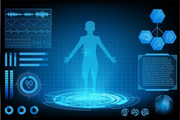 Futurista tecnología ciencia concepto humano datos salud interfaz digital.