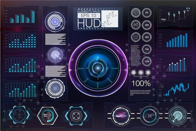 Futurista vr head-up display design. casco de ciencia ficción hud. tecnología de diseño de pantalla de futuro.