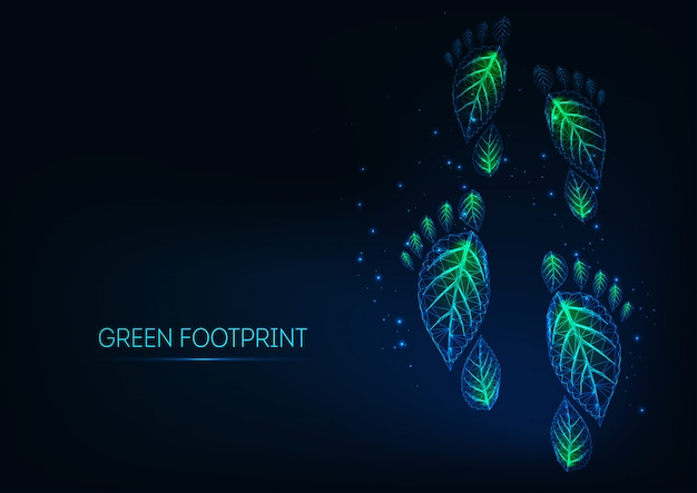 Futuristas brillantes huellas ecológicas verdes poligonales bajas hechas de hojas sobre fondo azul oscuro.