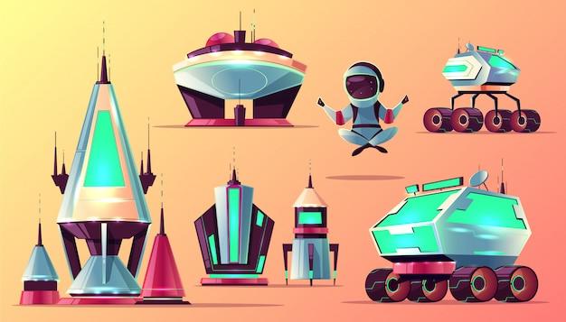 Futuro espacio explorando tecnologías, planetas colonización arquitectura dibujos animados