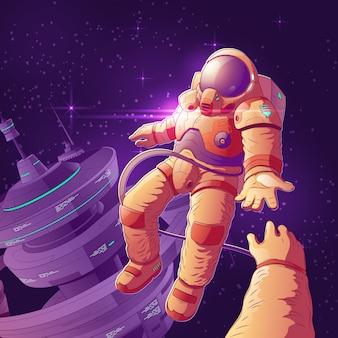 Futuro espacio de turistas pareja en órbita de dibujos animados