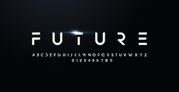 Futuro estilo fuente letras y números en negrita tipo de diseño futurista para logotipo moderno vector minimalista