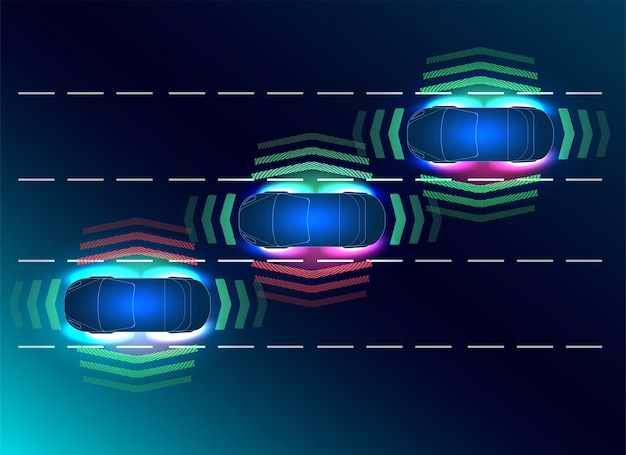 Futuros conceptos de auto inteligente. hud, gui, holograma el sistema de frenado automático evita un accidente automovilístico. concepto de sistemas de asistencia al conductor.