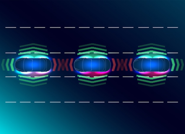 Futuros conceptos de auto inteligente. hud, gui, holograma el sistema de frenado automático evita un accidente automovilístico.