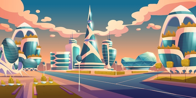 Futuros edificios futuristas de la ciudad con fachada de vidrio