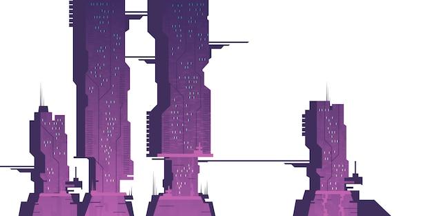Futuros rascacielos de la ciudad, construcciones cyberpunk