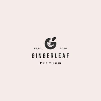 G carta ginger logo hipster retro vintage icono en estilo de espacio negativo