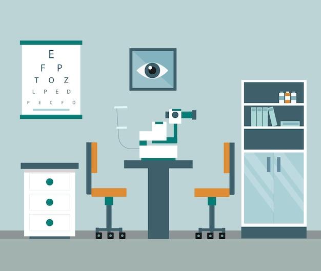 Gabinete de oftalmología y equipo para examinar la vista de los pacientes