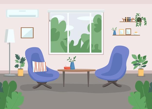 Gabinete de psicoterapia color plano. diseño del lugar de trabajo. sala. banco de trabajo. terapia, consultoría interior de dibujos animados en 2d con sillones y grandes ventanales en el fondo