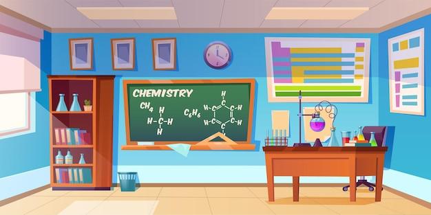 Gabinete de química interior de laboratorio de aula vacía con fórmula química en la pizarra