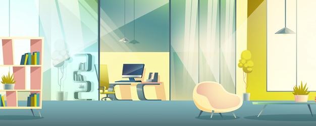 Gabinete de trabajo de oficina interior de dibujos animados