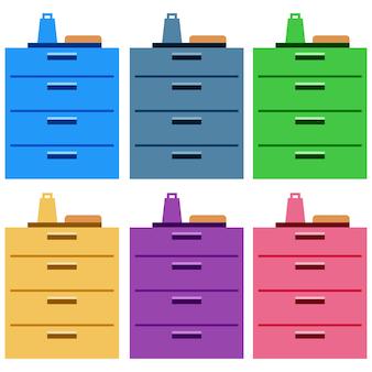 Gabinetes de cocina coloridos con cajones