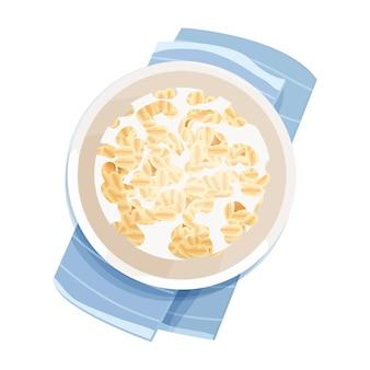 Gachas de avena en un tazón con vista superior de la placa de leche en estilo de dibujos animados