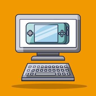 Gadget computadora y cosole jugando tecnología