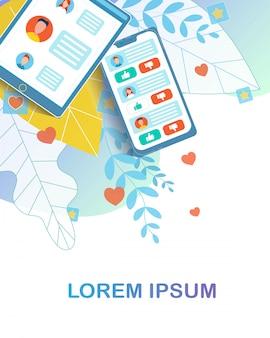 Gadget digital con carta social y aplicación de red