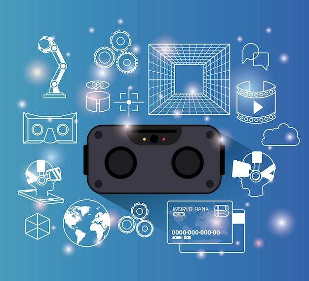 Gadget de tecnología futurista set iconos