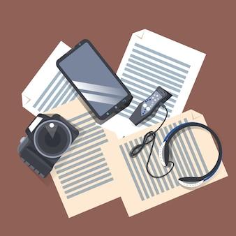 Gadgets en el lugar de trabajo vista en ángulo superior, cámara moderna, reproductor de música