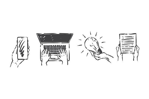 Gadgets en las manos, acceso a la ilustración del concepto de información