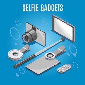 Gadgets selfie isométricos