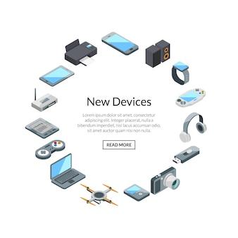 Gadset establece etiqueta con texto. iconos de gadgets isométricos
