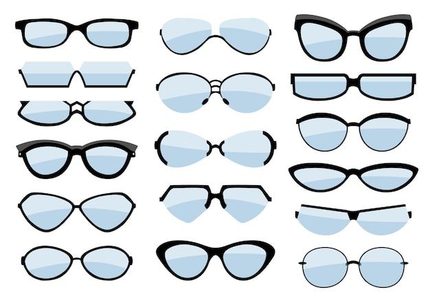 Gafas, anteojos y accesorios ópticos. iconos.