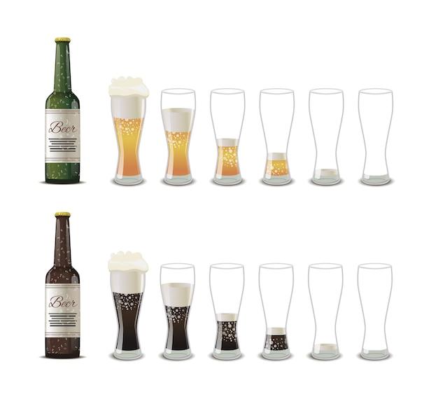 Gafas con cerveza clara y oscura de diversos grados de iconos de plenitud aislados en blanco