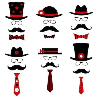 Gafas de evento de entretenimiento de moda masculina sombrero bigote