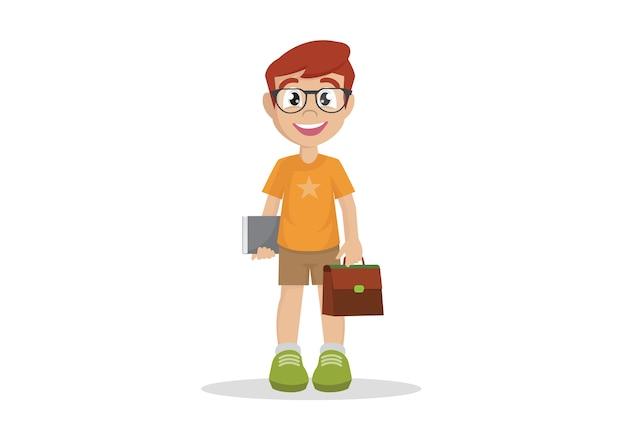 Gafas de niño de escuela libro estudiante.