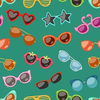 Gafas de dibujos animados, anteojos o gafas de sol en formas elegantes para fiesta y moda gafas ópticas conjunto de vista de accesorios de visión ilustración de fondo