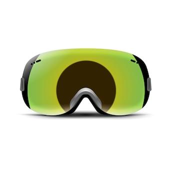 Gafas de esquí aisladas en blanco. máscara de cristal de invierno para nieve. protección de snowboard para la cara. gafas de sol vintage.