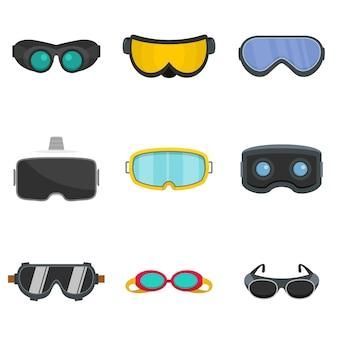 Gafas de esquí de vidrio máscara iconos conjunto