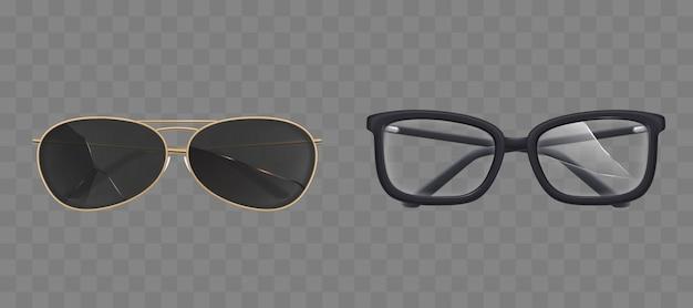 Gafas y gafas de sol rotas, conjunto de gafas