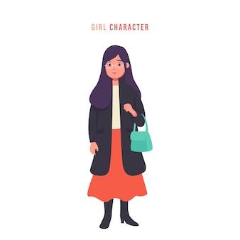 Gafas jóvenes mujer o niñas en vector de personaje de estilo de moda ropa