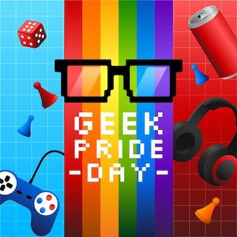 Gafas de lectura y juegos día del orgullo geek