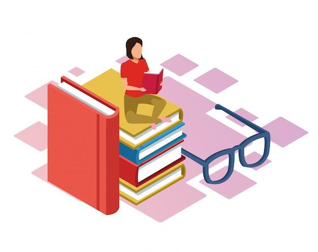Gafas y mujer leyendo un libro sentado sobre una pila de libros sobre fondo blanco, colorido isométrico