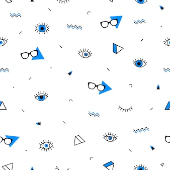 Gafas ojos de patrones sin fisuras con formas geométricas en estilo memphis.