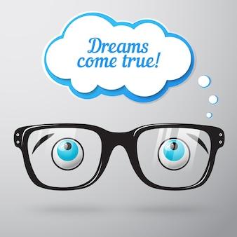Gafas con ojos soñando concepto
