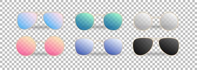 Gafas de sol realistas en el fondo transparente. gradiente gafas de verano.