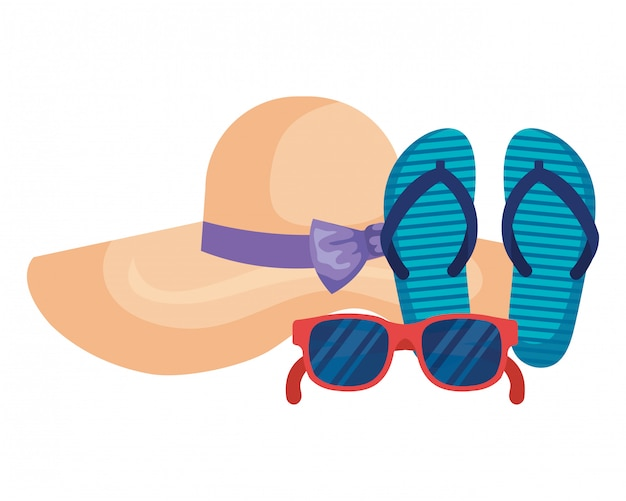 Gafas de sol de verano con sandalias y sombrero femenino.