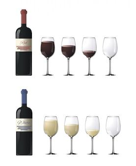 Gafas con vino tinto y blanco de diferentes grados de plenitud aislados en blanco
