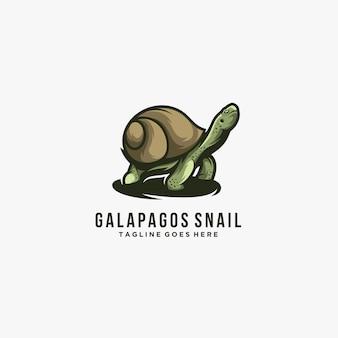 Galápagos con caracol pose ilustración logotipo.