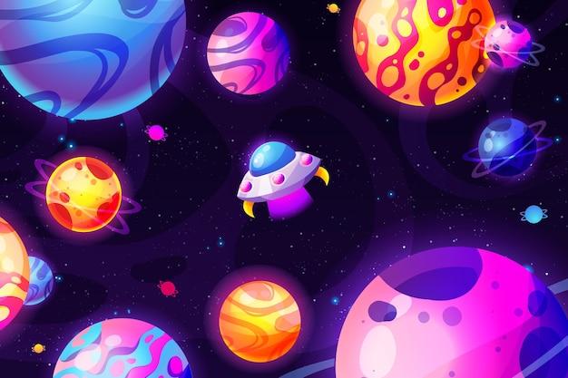 Galaxia de dibujos animados con fondo de estrellas
