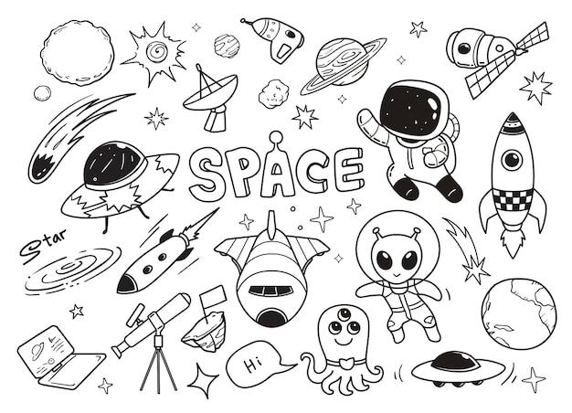 Galaxia del doodle de la ilustración