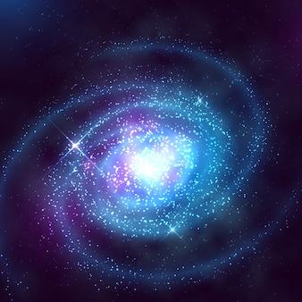 Galaxia espiral en el espacio exterior con la ilustración de vector de cielo azul estrellado