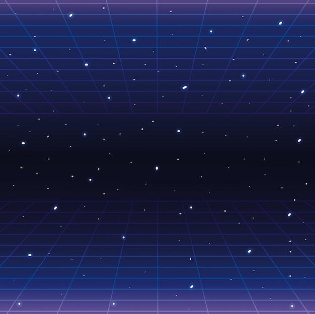 Galaxia con estrellas y fondo de estilo gráfico geométrico.