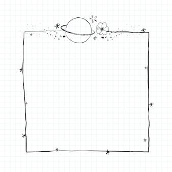 Galaxy decorado vector de marco de arte de línea mínima