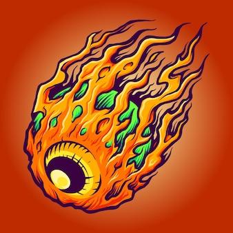 Galaxy eye horror ilustraciones vectoriales para su trabajo logotipo, camiseta de mercancía de la mascota, diseños de pegatinas y etiquetas, póster, tarjetas de felicitación, publicidad de empresa comercial o marcas.